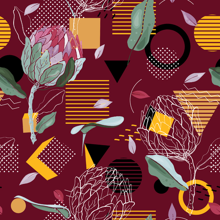 Modern memphis pattern with hand drawn botanical flowers. Geometric seamless print with polka dots design for fashion, cards, fabric and prints. Vector illustration  イラスト・ベクター素材