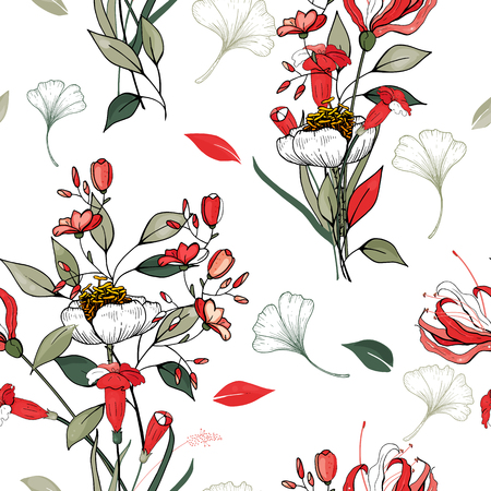 Abstract flower drawing. Realistic isolated seamless flower pattern. Vintage set. Wallpaper. Hand drawn. Vector illustration.