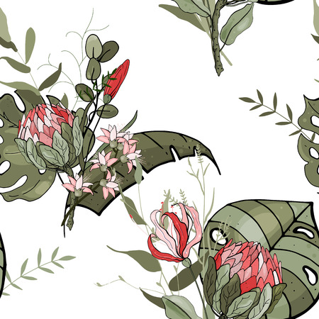 Tropical vector seamless flower and leaves pattern. Exotic background. Wallpaper. Blooming realistic orchid, protea isolated jungle plants, palm. Hand drawn bright illustration.