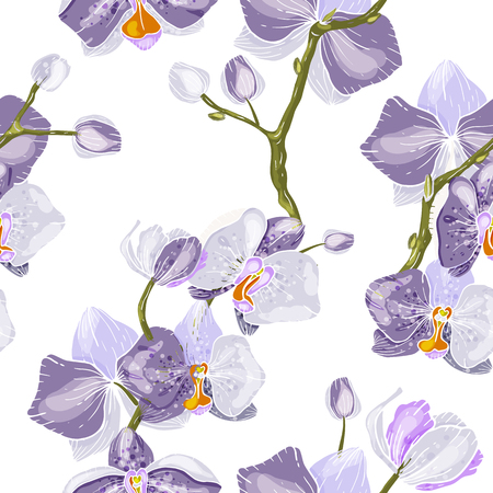 Paradise flowers. Realistic isolated seamless flower pattern. Vintage background. Wallpaper. 写真素材 - 118622934