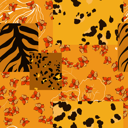 Modern animal skin pattern and flower hand drawn seamless print. Safari Africa design of leopard and tiger skin spots. Vector  イラスト・ベクター素材
