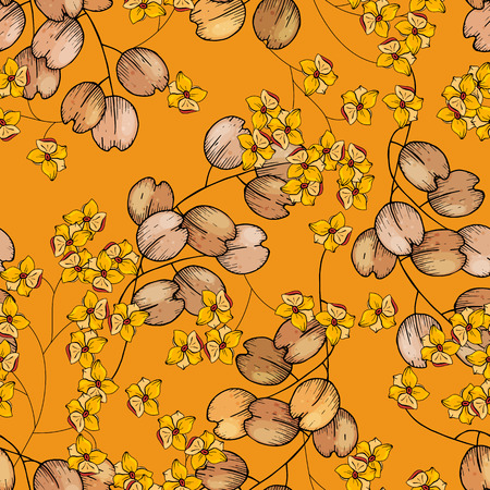 Blooming  Flowers. Realistic isolated seamless flower pattern. Vintage background. Wallpaper. 写真素材 - 118622984