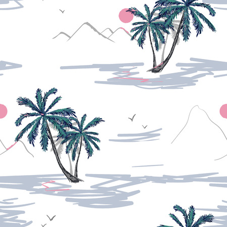 Tropical vector seamless flower and leaves pattern. Exotic background. Wallpaper. Blooming realistic isolated jungle plants, palm. Hand drawn bright illustration.
