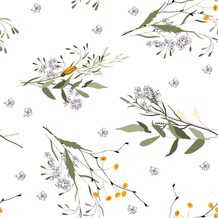 Fantasy Floral seamless pattern with painted by hand wild flowers. Sketched drawing botanical wallpaper vector illustration for fashion, fabric. Scarf prints