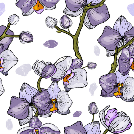 Freehand flowers seamless floral pattern with wild flowers and tropic leaves. Botanical background. Wallpaper. Hand drawn. Vector illustration  イラスト・ベクター素材