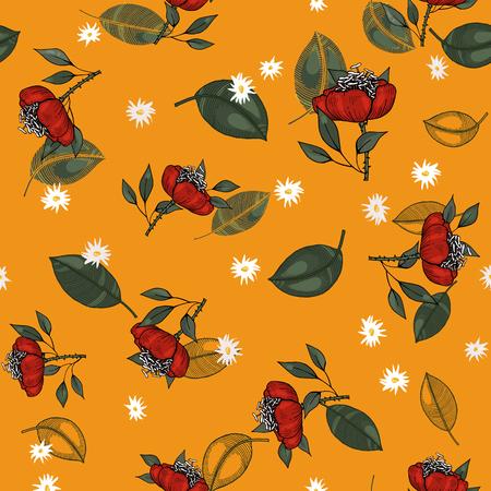 Folk flowers. Seamless floral pattern. Modern botanical background. Wallpaper. Hand drawn. Vector illustration  イラスト・ベクター素材