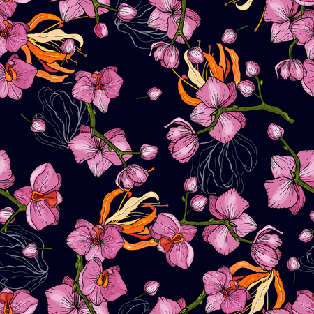 Blooming  Flowers. Realistic isolated seamless flower pattern. Vintage background. Wallpaper.