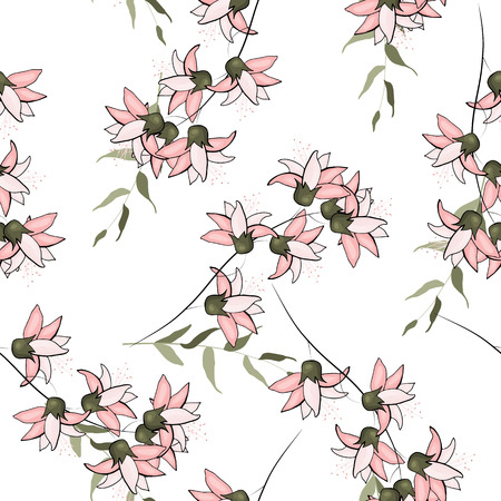 Japanese Garden seamless pattern spring Asia Flowers. Wallpaper. Hand drawn. Floral vector illustration for fashion, fabric.  Surface and textile print.