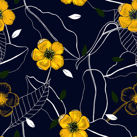 Botanical motifs. Isolated seamless flower pattern. Vintage background. Wallpaper. 写真素材 - 118622992