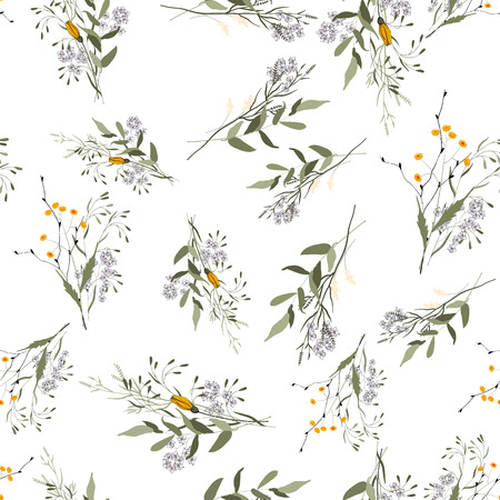 Bohemian flowers pattern, floral hand drawn mix. Seamless vector illustration for fashion, fabric. Scarf prints  イラスト・ベクター素材
