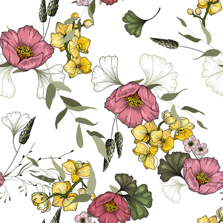 Trendy floral pattern. Isolated seamless pattern. Vintage background of orchid, ginkgo, Wallpaper.