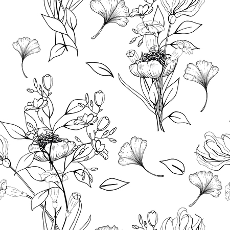 Antistress Coloring page isolated on white background. Seamless floral background 写真素材 - 118622995