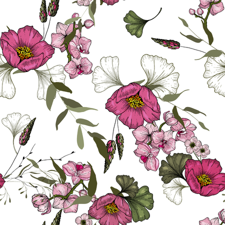 Trendy Seamless flower pattern of orchid. Vintage background. Wallpaper. Blooming realistic isolated flowers. Hand drawn. Vector illustration.