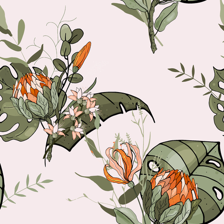 Bohemian flowers pattern, floral hand drawn mix. Orchid, protea. Seamless vector illustration for fashion, fabric. Scarf prints  イラスト・ベクター素材