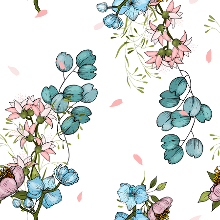 Flower pattern hand drawn style with set of seamless floral ornament with peonies and orchids for fashion design, fabric print, wallpaper, background, web, textile in vector  イラスト・ベクター素材