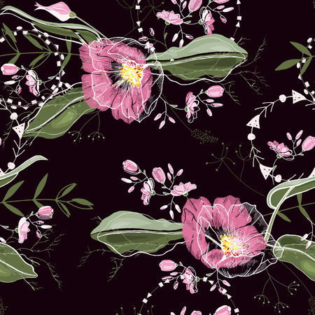 Cute trendy floral pattern. Isolated seamless pattern. Vintage background. Wallpaper. Ilustrace