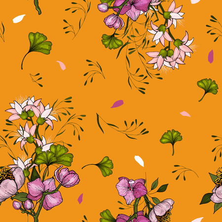 Tropical Vector seamless orchid flower and leaves pattern. Exotic background. Wallpaper. Blooming realistic isolated jungle plants, palm. Hand drawn bright illustration.  イラスト・ベクター素材