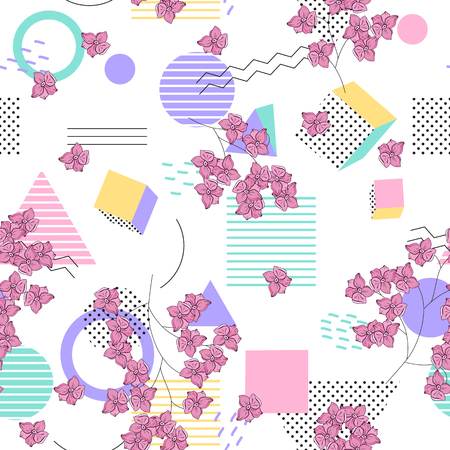 Geometric seamless  pattern with   wild flowers. 写真素材 - 118624392