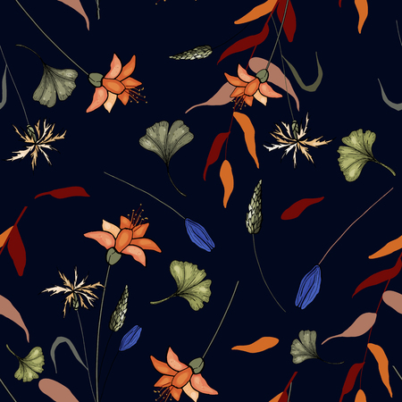 Flower pattern hand drawn style with set of seamless floral ornament for fashion design, fabric print, wallpaper, background, web, textile in vector
