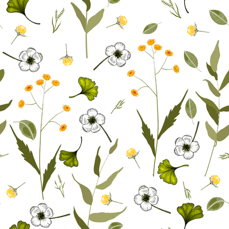 Botanical motifs. Isolated seamless flower pattern. Vintage background. Wallpaper. 写真素材 - 118624393