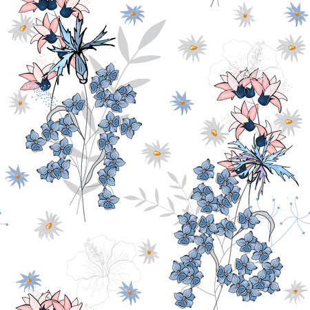Bohemian flowers pattern. Seamless floral hand drawn mix. Vector illustration Ilustrace