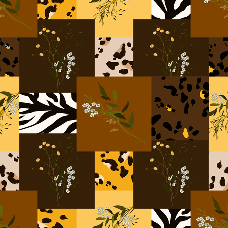 Modern animal skin prints and flower hand drawn seamless pattern. Safari Africa design of leopard, zebra and tiger. Vector