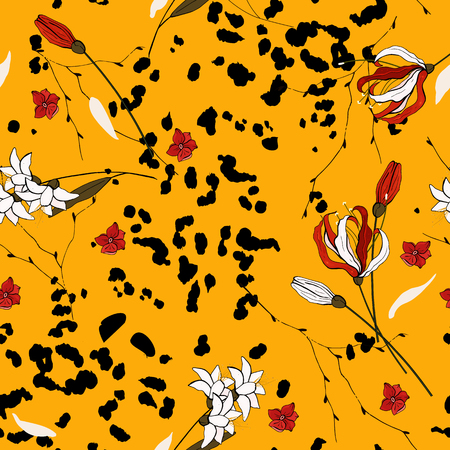 Modern animal skin prints and flower hand drawn seamless pattern. Safari Africa design of leopard. Vector Ilustrace