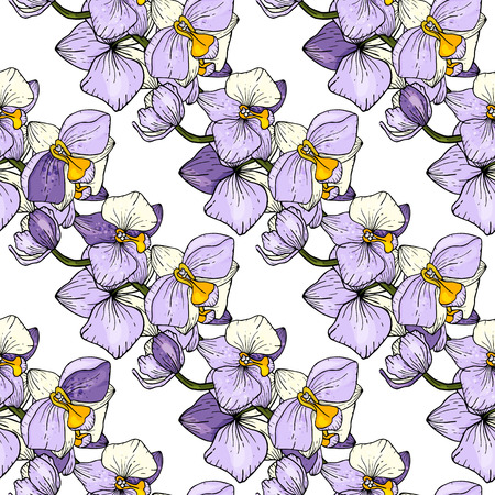 Freehand flowers seamless pattern with wild plants orchid. Botanical background. Hand drawn vector illustration Ilustrace