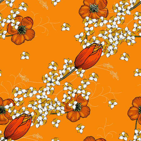 Trendy floral pattern of chamomile and tulips. Isolated seamless print. Vintage background.  Hand drawn vector illustration. 写真素材 - 119404884
