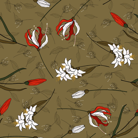 Trendy floral pattern. Isolated lily seamless print. Vintage background.  Hand drawn vector illustration.