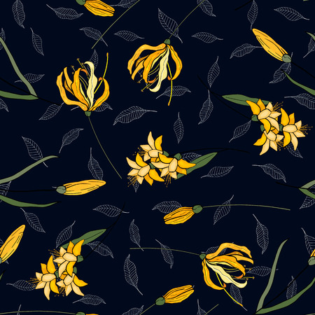 Japanese garden seamless pattern spring lily Asia flowers. Hand drawn floral vector illustration 写真素材 - 119404880