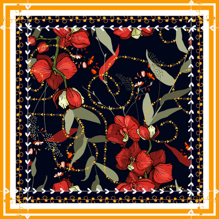 Beautiful fashion flower pattern. Hand drawn modern print. Invitation floral background. Vector illustration