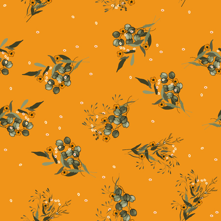 Folk flowers. Seamless folklore pattern. Bright botanical background with bouquets of flower Chamomile. Wallpaper. Hand drawn. Vector illustration