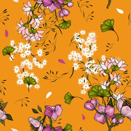 Floral background. Seamless pattern of cute small flowers. Wedding floral invitation. Vector wallpaper  イラスト・ベクター素材