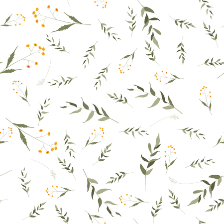 Bohemian flowers pattern. Seamless floral hand drawn chamomile mix. Vector illustration for fashion, fabric