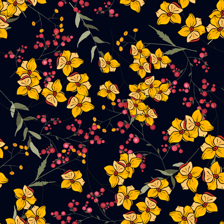 Trendy seamless floral pattern. Vintage background. Blooming realistic isolated flowers. Hand drawn vector illustration.
