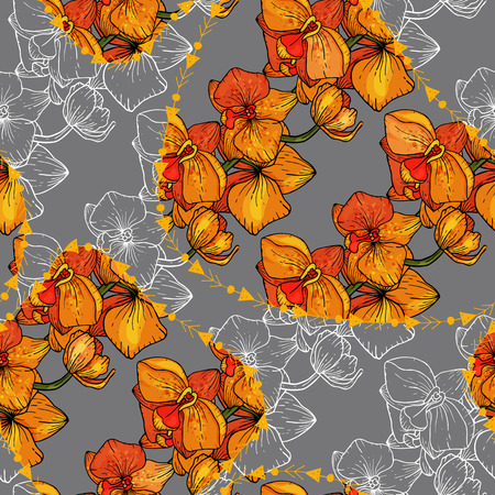 Modern abstract animal skin prints and flower hand drawn seamless pattern. Safari Africa design of stylized leopard spots. Vector