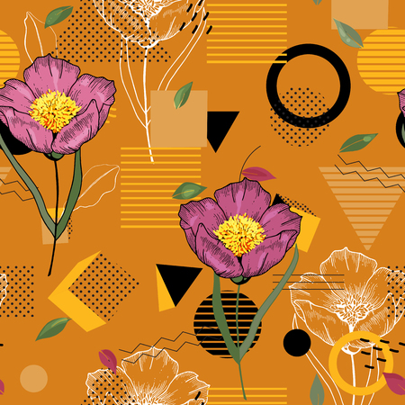 Modern memphis pattern with hand drawn wild flowers. Geometric seamless print polka dots design vector illustration Ilustrace
