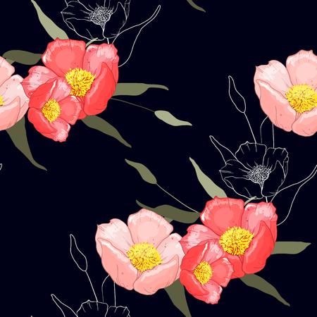 손으로 그린 야생 꽃으로 환상의 꽃무늬 매끄러운 패턴입니다. 패션, 직물에 대한 스케치 드로잉 식물 벽지 벡터 일러스트 레이 션. 스카프 프린트