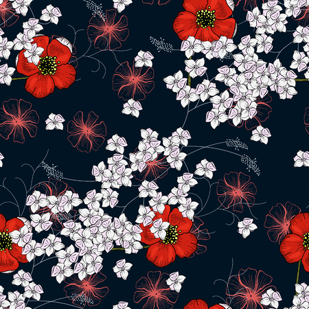 Trendy floral pattern. Isolated seamless print. Vintage background.  Hand drawn vector illustration.