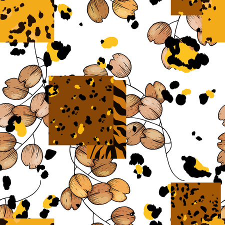 Modern animal skin prints and flower hand drawn seamless pattern. Safari Africa design of leopard and tiger. Vector