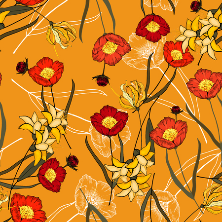 Bohemian flowers pattern. Seamless floral hand drawn mix. Vector illustration 写真素材 - 119404893