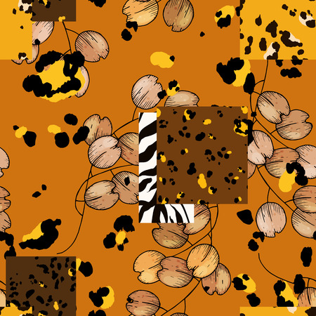 Modern animal skin prints and flower hand drawn seamless pattern. Safari Africa design of leopard and tiger, zebra Vector