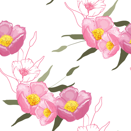 Blossom flowering seamless pattern painted by hand. Vintage background, wallpaper. Blooming realistic garden flowers. Handdrawn style. Vector illustration. Ilustração