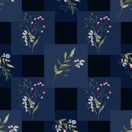 Scarf pattern seamless floral pattern. Wallpaper blooming realistic isolated flowers hand drawn vintage background. Vector illustration.