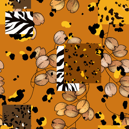 Modern animal skin prints and flower hand drawn seamless pattern. Safari Africa design of leopard and tiger, zebra. Vector Ilustrace