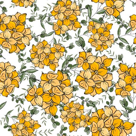 Folk flowers. Seamless floral pattern. Modern botanical background. Hand drawn chamomile, daisy vector illustration  イラスト・ベクター素材