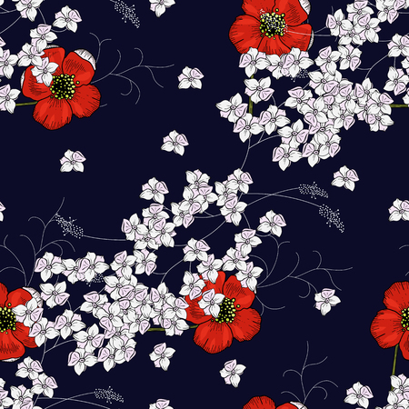 Paradise flowers. Realistic isolated seamless floral pattern of chamomile, daisy. Hand drawn vector illustration.
