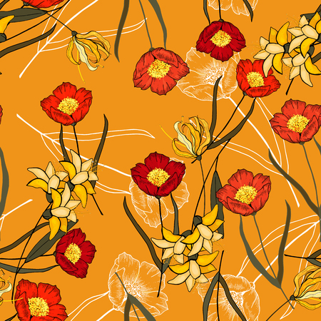 Abstract floral drawing. Realistic isolated seamless flowers wild roses pattern. Vintage set. Hand drawn vector illustration.  イラスト・ベクター素材