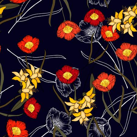 Folk flowers. Seamless floral pattern. Modern botanical background. Hand drawn vector illustration 写真素材 - 119404900